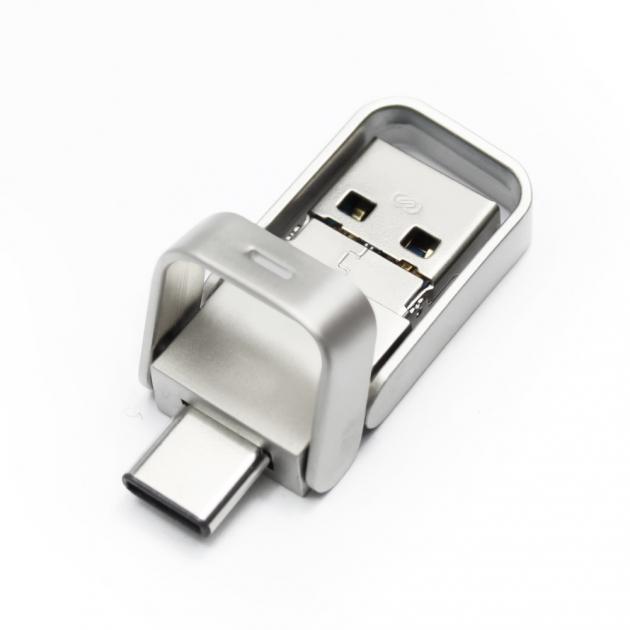 Type C 三合一 OTG 金屬框 隨身碟 128GB-霧銀 5