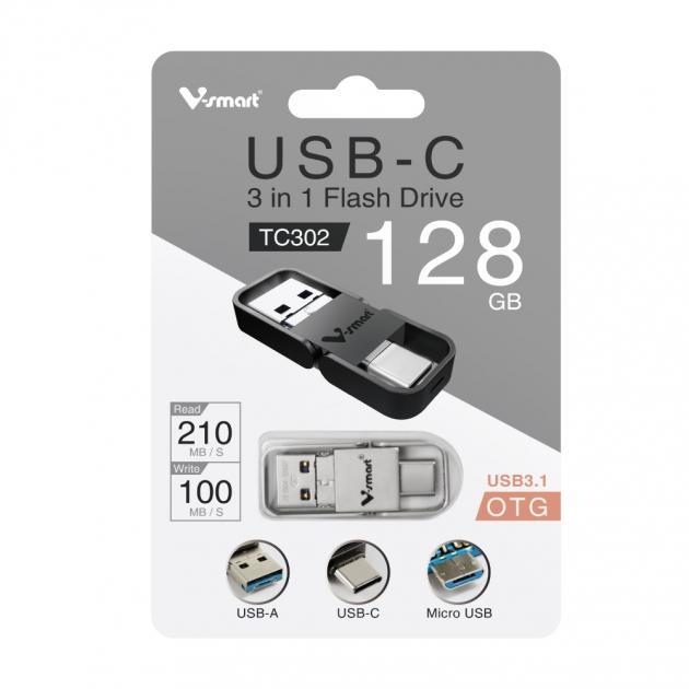 Type C 三合一 OTG 金屬框 隨身碟 128GB-霧銀 6