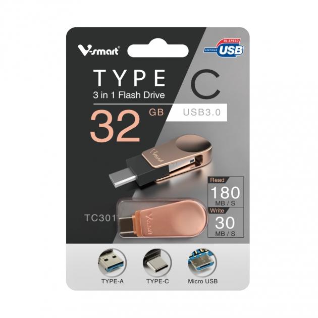 Type C 三合一 OTG 隨身碟 32GB-玫瑰金 5