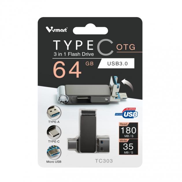 TYPE C 三合一 OTG 隨身碟 64GB 鐵灰(附珠鍊) 5