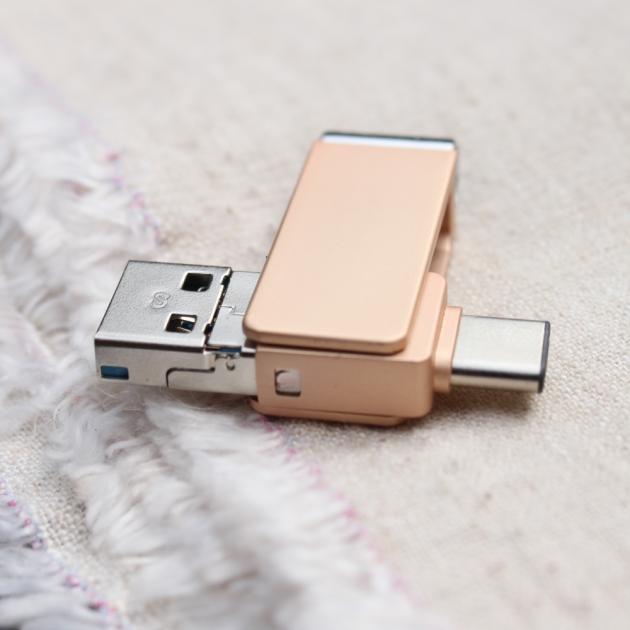 TYPE C 三合一 OTG 隨身碟 32GB 香檳金(附珠鍊) 3