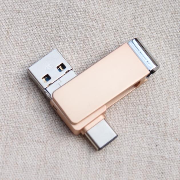 TYPE C 三合一 OTG 隨身碟 32GB 香檳金(附珠鍊) 6