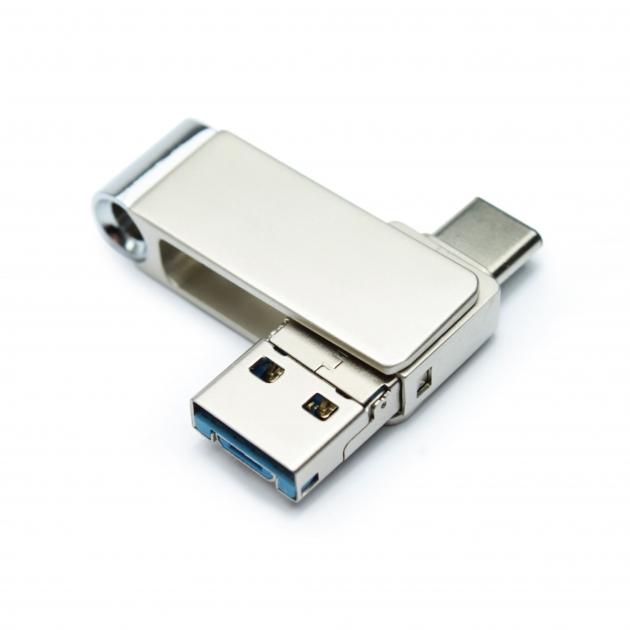 Type C 三合一 OTG 隨身碟 16GB 霧銀(附珠鍊) 3