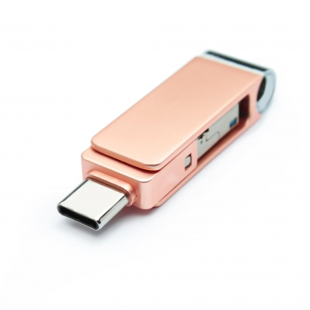 Type C 三合一 OTG 隨身碟 32GB 玫瑰金(附珠鍊) 1